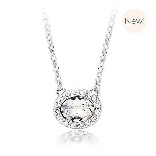 Christie Oval Pendant with Clear Swarovski® Crystal