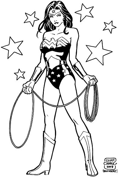 Wonder woman with her lasso and some stars coloring 4 - Coloriage dc comics ...
