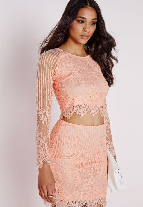 Long Sleeve Striped Lace Crop Top Blush