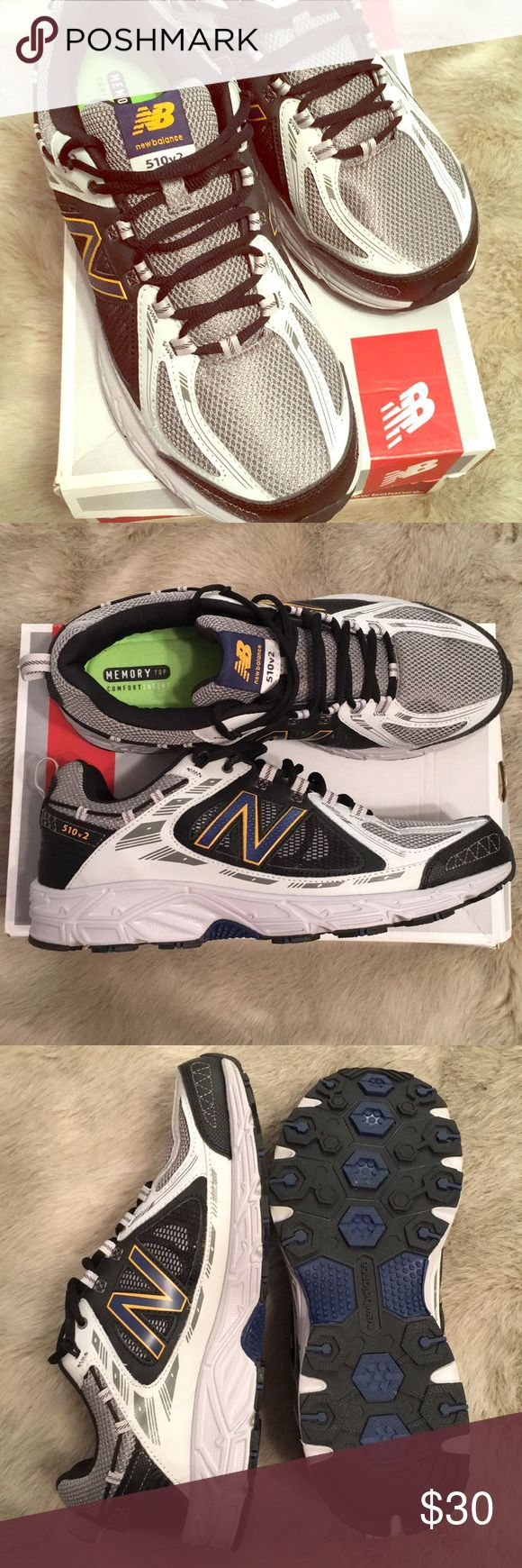 New Balance Trail Runners Size 11.5 New Balance trail runners in the original box. Sneakers have gray and black color scheme with navy blue 'N' outlined in yellow. Insoles are neon green 'memory top comfort inserts'. Never worn. Smoke/pet free home. Men's size 11.5 New Balance Shoes Athletic Shoes