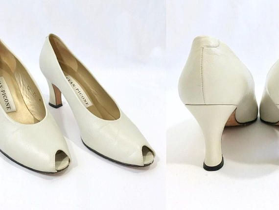 1980s Leather Peep Toe Pumps Vintage Evan Picone White