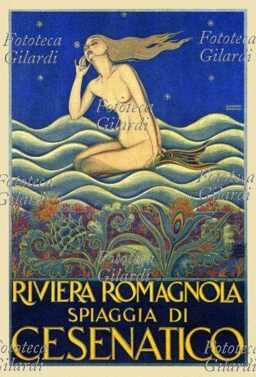 VACANZE 'Riviera romagnola, spiaggia di Cesenatico'. Manifesto pubblicitario di Giovanni Guerrini per la località balneare Cesenatico, 1925 Fototeca Storica Nazionale Ando Gilardi