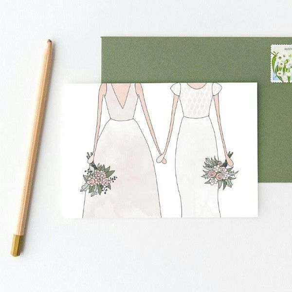 Wedding Woman & Woman Greeting Card.  Australian made stationery by In the Daylight.