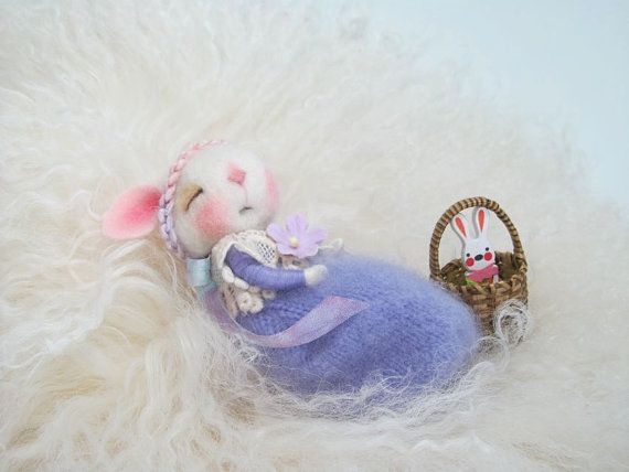 ADOPT A BUNNY Needle Felted Bunny Periwinkle TINY Wool by barby303