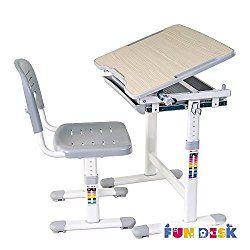 FD FUN DESK Height Adjustable Children Desk & Chair Set, Kids Workstation for School, Kids Study Table in PICCOLINO (GREY)