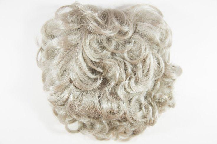 Platinum (Light Cool Grey Blonde) Grey Medium Short Wavy Curly 3/4 C Hair Pieces