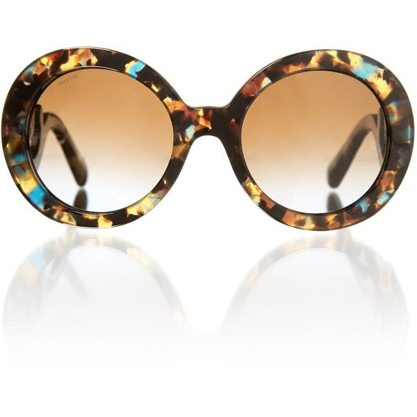 Prada Sunglasses Tortoiseshell Minimal Baroque Round Sunglasses ($355) found on Polyvore