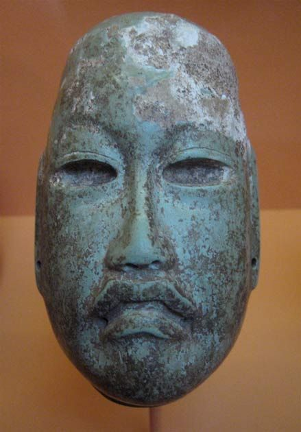 Mask, Olmec were the first major civilization in Mexico. 500 BCE to about 400 BCE.