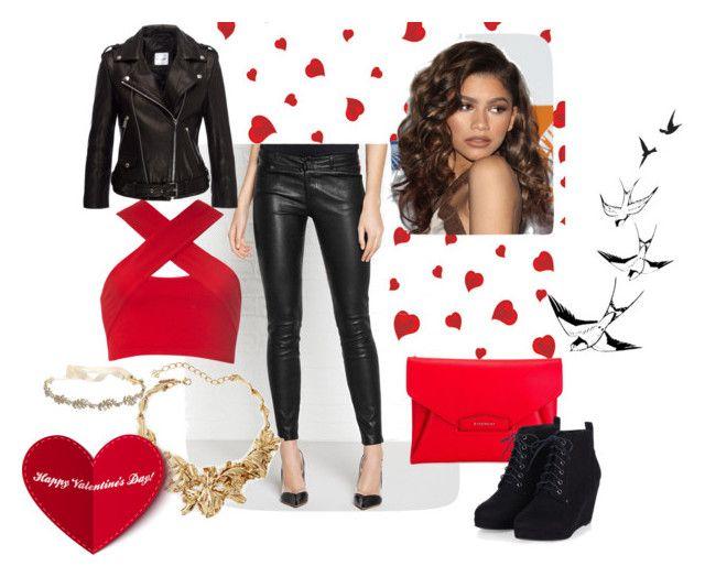 Valentine day ouftit by okayaleks on Polyvore featuring Motel, Paige Denim, Givenchy, Oscar de la Renta, Marchesa, Coleman, women's clothing, women's fashion, women and female