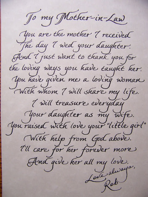The Personal Touch: Mother In Law Poem - for the Bride's mom  Great Gift idea. Could be changed to fit the grooms mom, also.