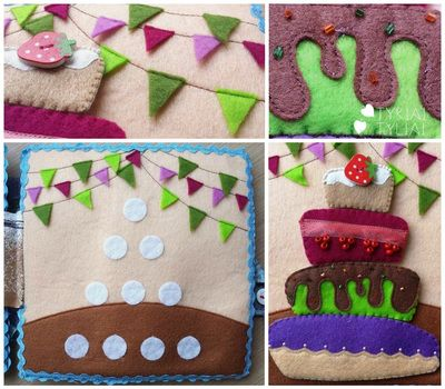Quiet Book Page Ideas. BIG Birthday Cake and Counting to 4.