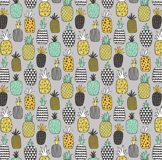 Pineapple Fabric  Pineapple Geometric On Grey By Caja Design
