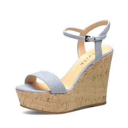 Evita Shoes Damen Keilsandalette, hellblau