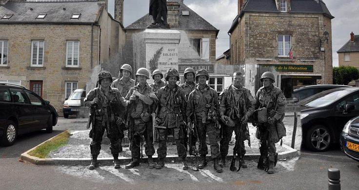 Then and Now. Paratroopers of Easy Company, 101st Airborne Division, in the square of Sainte-Marie-du-Mont, France. #WW2