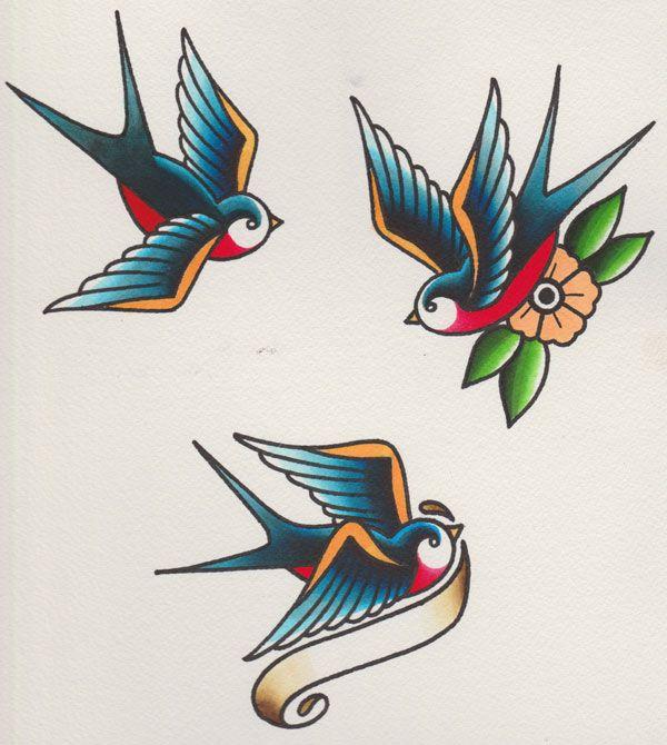 How to Draw a Group of Swallows in a Retro Tattoo Style   tatuajes | Spanish tatuajes  |tatuajes para mujeres | tatuajes para hombres  | diseños de tatuajes http://amzn.to/28PQlav