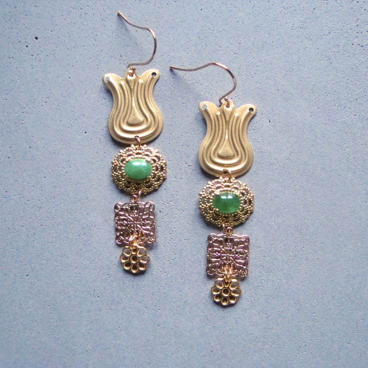 V I R E N T I — Green Agate Tulip earrings. Brass tulip earrings with oval Green Agate cabochons. 2 inches long. — $42.00