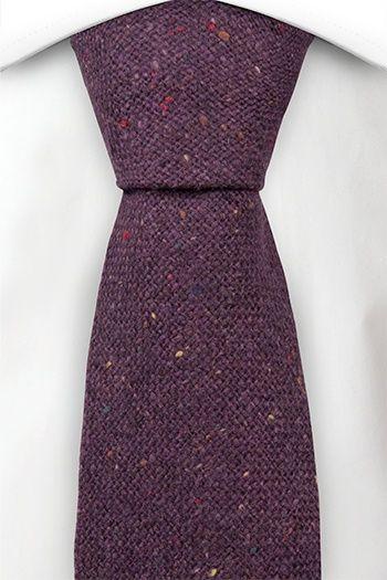 Necktie - Solid purple with red, yellow & green specks
