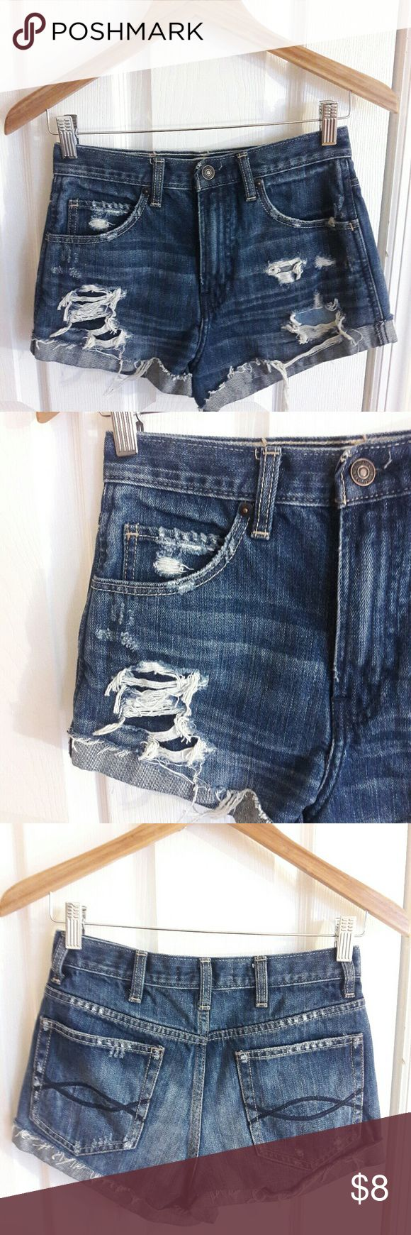 Abercrombie & Fitch Ripped Denim Skirt size 0 Ripped Denim Shorts with front and back pockets, in size 0, w 25. Abercrombie & Fitch Shorts Jean Shorts