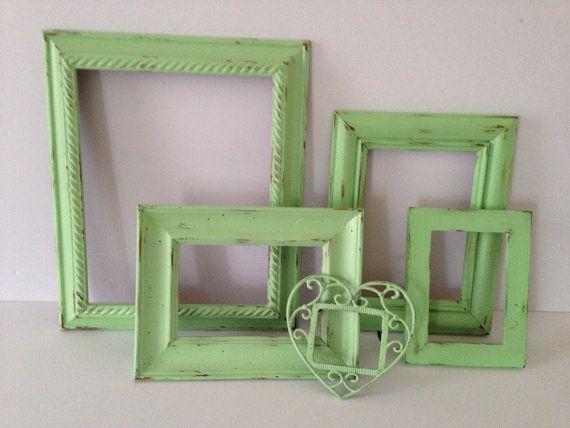 Shabby chic frames Mint Set of 5 8x10 5x7 4x6 by MySugarBlossom, $41.00