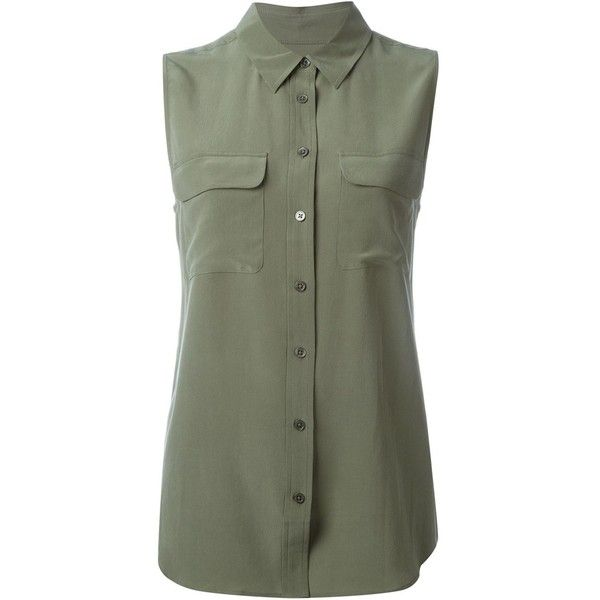 Equipment Military Blouse ($152) ❤ liked on Polyvore featuring tops, blouses, shirts, 1, camisas, green, equipment shirts, green blouse, silk shirt and green silk shirt