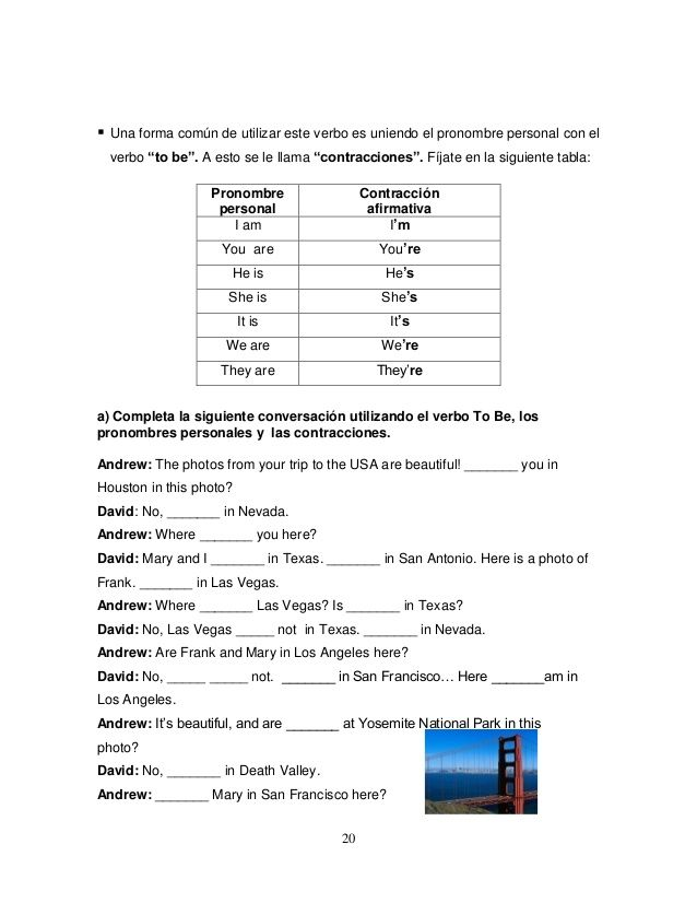 """20   Una forma común de utilizar este verbo es uniendo el pronombre personal con el  verbo """"to be"""". A esto se le llama """"con..."""