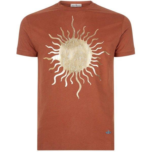 Vivienne Westwood Sun Print T-Shirt ($185) ❤ liked on Polyvore featuring men's fashion, men's clothing, men's shirts, men's t-shirts, mens leopard print t shirt, vivienne westwood men's t shirt, vivienne westwood mens shirts, mens dark denim shirt and mens metallic shirt