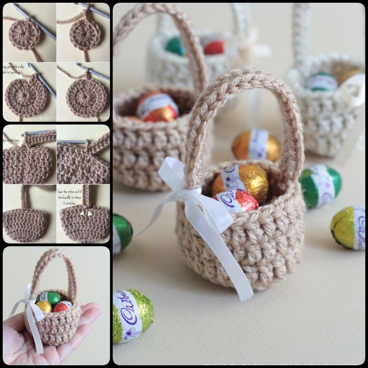 Crochet Mini Baby Shower Favors with Free Patterns--Crochet Mini Candy Basket
