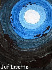 Dieren: nuance Midden:witte cirkel en steeds een tint donkerder. of juist andersom van buitenaf van donker naar licht. Zwarte vissen erbij.