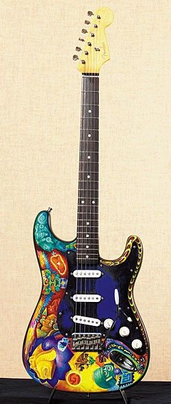 Carlos Santana occasionally plays this guitar onstage. It was.painted by artist Mike Rios.