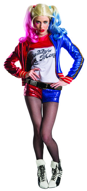 "Hey, puddin'! Epic costume comes with ""Property of Joker"" jacket, ""Daddy's Lil Monster"" shirt, red and blue sequined shorts and a gold studded belt. This Harley Quinn Suicide Squad Super Deluxe costume is so awesome, it's INSANE! #yyc #Calgary #costume #SuicideSquad #DCComics #DrHarleenQuinzel"