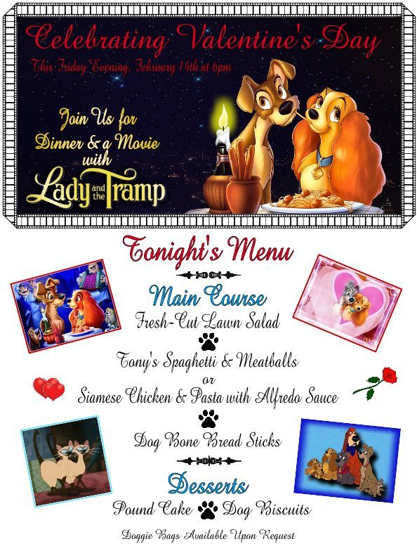Dinner & a Movie with Lady and the Tramp Menu & Dessert Items
