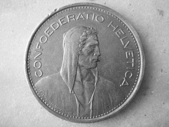 Vintage 1968 Swiss Coin, 5 Franken, Mint Mark B