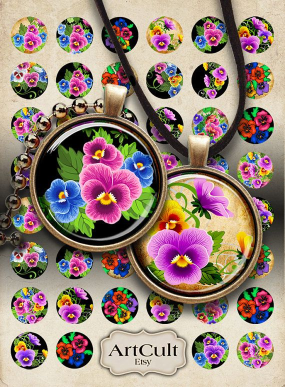 PANSIES - Digital Collage Sheet 1 inch Circles Printable Download for pendants bottle caps bezel findings cabochon setting trays magnets