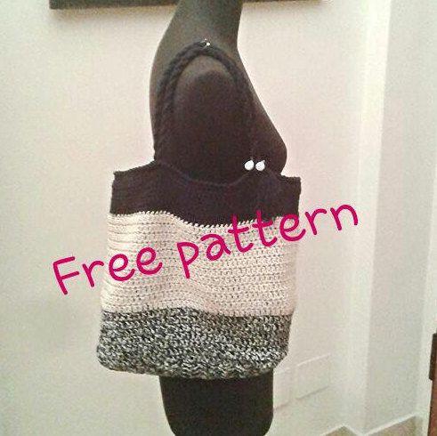 BAG PATTERN for FREE, twine tote bag, crochet bag, striped tote bag
