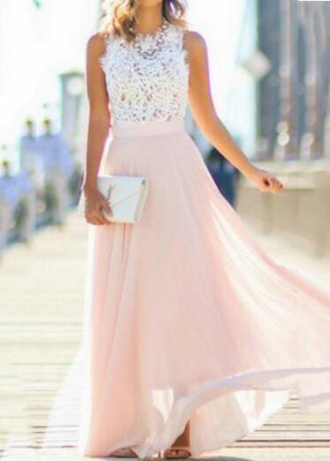 Lace Chiffon Hollow Pink Dress