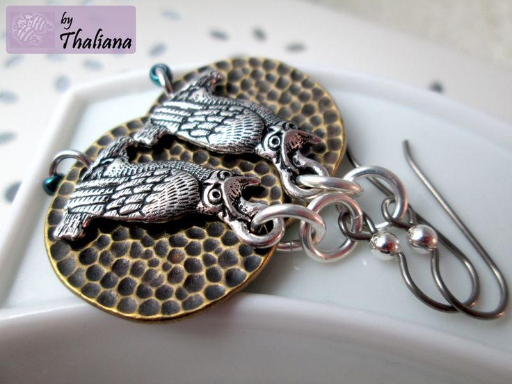 UHUUUUU Ohrringe Eule Silber Bronze Silber Eule von Thaliana - Funkeln in allen Facetten! auf DaWanda.com