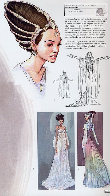kelldar:  Concept art for Padme's wedding dress.  I love the hair cage at the top left.