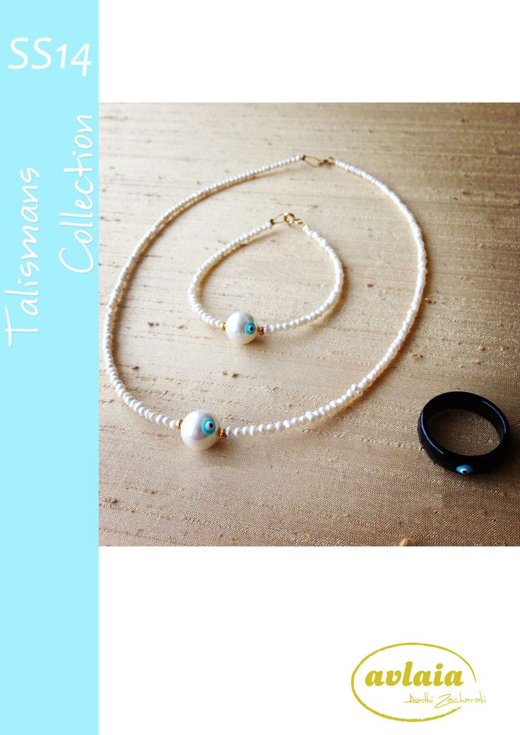 Evil's eye necklace, bracelet and ring from AVLAIA Jewelry Talismans Collection designed by Anthi Zacharaki.