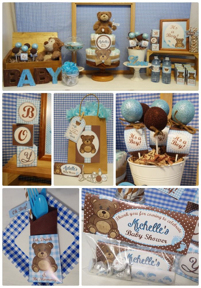 Teddy Bear Baby Shower Printable Boy Teddy Bear Party