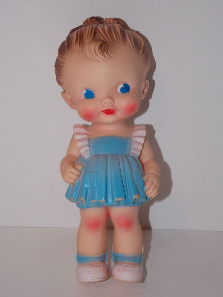 VINTAGE RUTH E. NEWTON SUN RUBBER SQUEAKER GIRL DOLL BABY BLUE DRESS