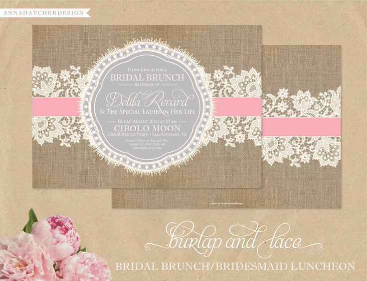 Burlap & Lace Invitations - Bridal Brunch or Bridesmaid Luncheon - Blush Pink and Silver-Cloud Grey - Personalized for Any Occasion in Any Color - Anna Hatcher Design via Etsy.