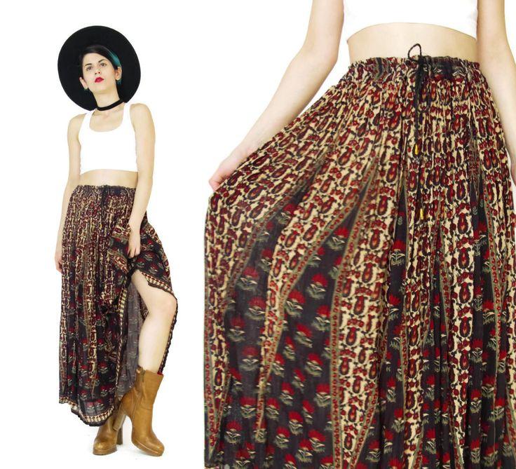 New to honeymoonmuse on Etsy: Vintage Gypsy Broomstick Skirt Indian Gauze Skirt Festival Hippie Boho Floral Maxi Skirt Plus Size Crinkle Drawstring Waist Skirt (L/XL) (55.00 CAD)