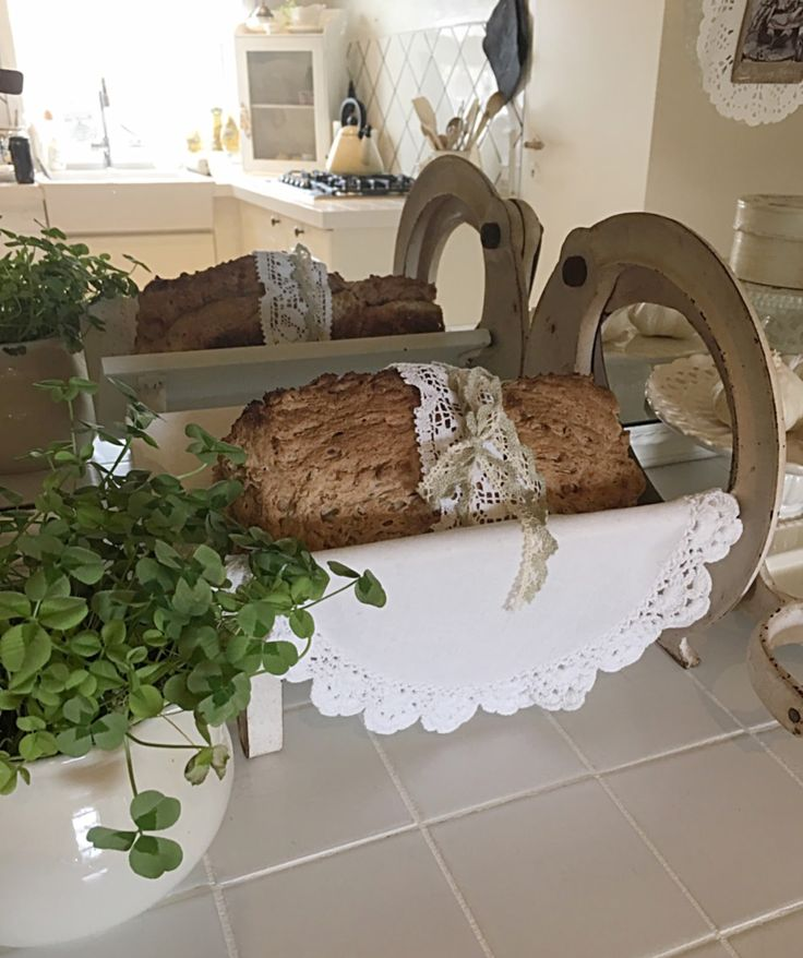 Homemade bread in my old white romantic shabby chic kitchen