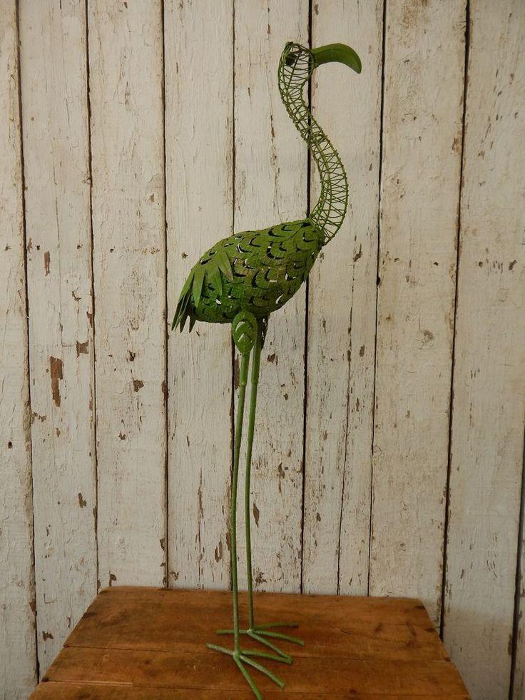 Rustic Vintage Style Metal Stork ~ Primitive Garden Decor Heron Crane Tall Bird