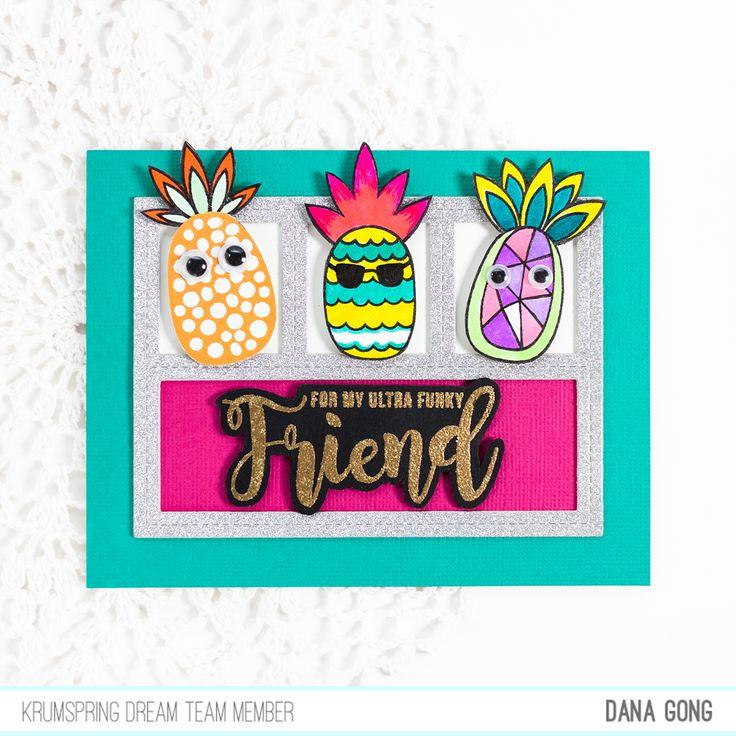 Krumspring Stamps Funky Pineapples stamp set, MFT Die-namics Blueprint 27, cardmaking, cardmaker, #DanaCardDesign