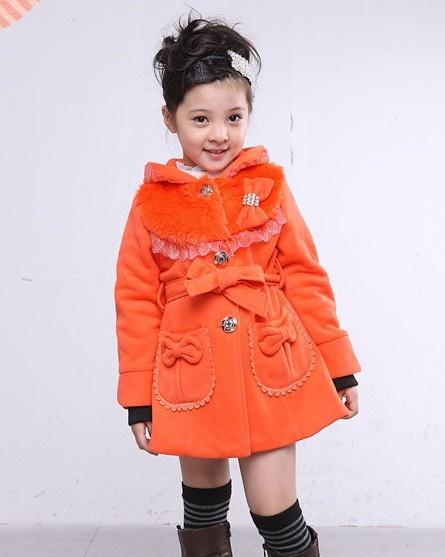 Bowknot Embellished Hooded Warm Long Coat Orange i802903