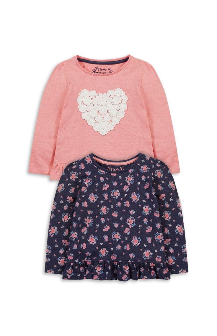 Roze shirts met bloemen/hart, 2 stuks
