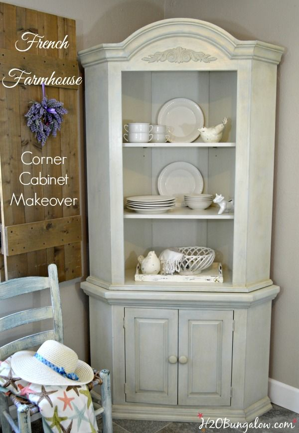 Farmhouse Corner Cabinet Makeover