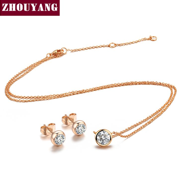 Classic Simple Style One Crystal  Rose/White Gold Plated Fashion Jewelry Sets For Women Girl ZYS370 ZYS371 ZYS372 ZYS373