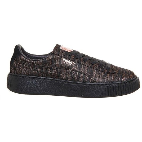 Basket Platform Trainers by Puma Supplied by Office (€96) ❤ liked on Polyvore featuring shoes, sneakers, multi, metallic shoes, platform trainers, woven shoes, puma footwear and platform shoes